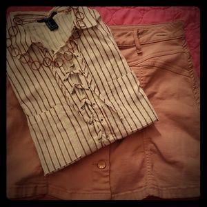 White top with rose colored stripes